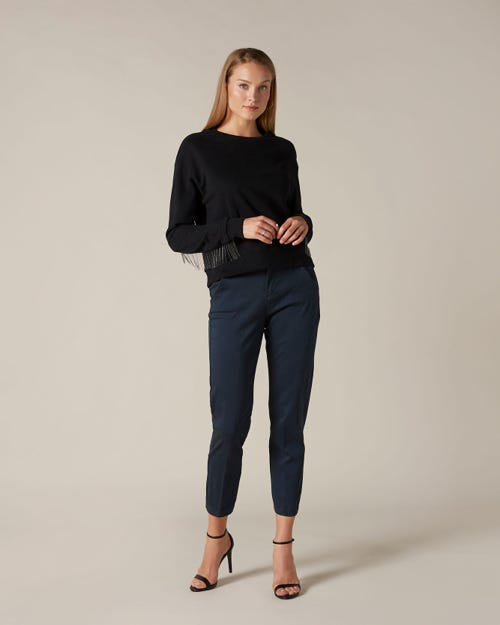 CHINO SATEEN NAVY WITH CROCO LABEL