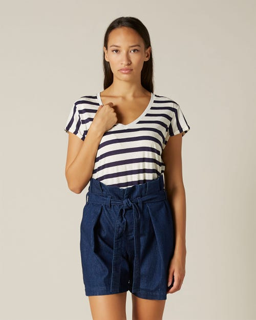 TEE COTTON SILK NAVY STRIPES