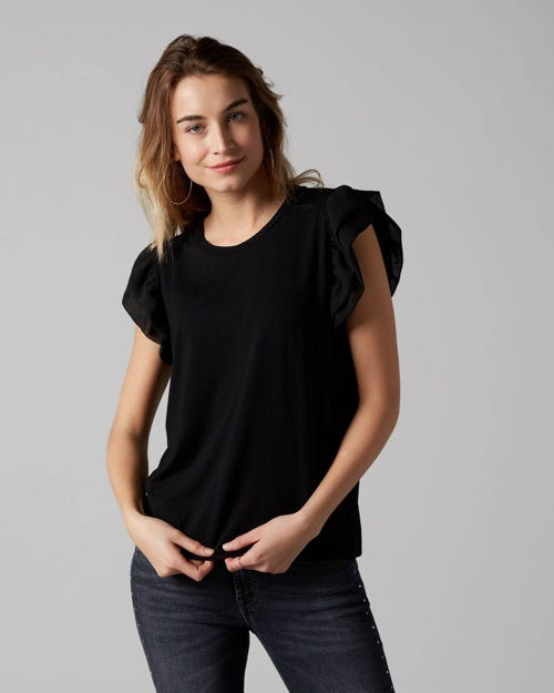 7 For All Mankind - Ruffled Tee Viscose Black With Ruffles Sleeves