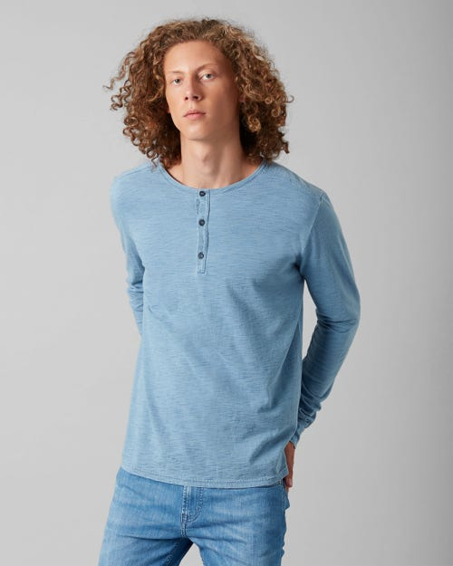 7 For All Mankind - Henley Tee Cotton Light Indigo