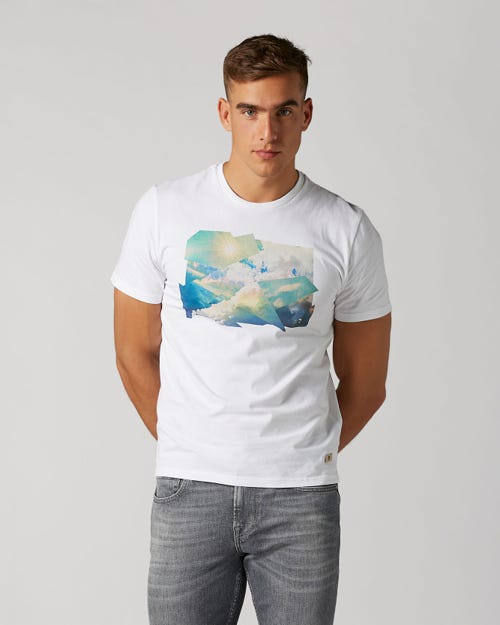 GRAPHIC TEE COTTON WHITE WITH PRINTED SKY
