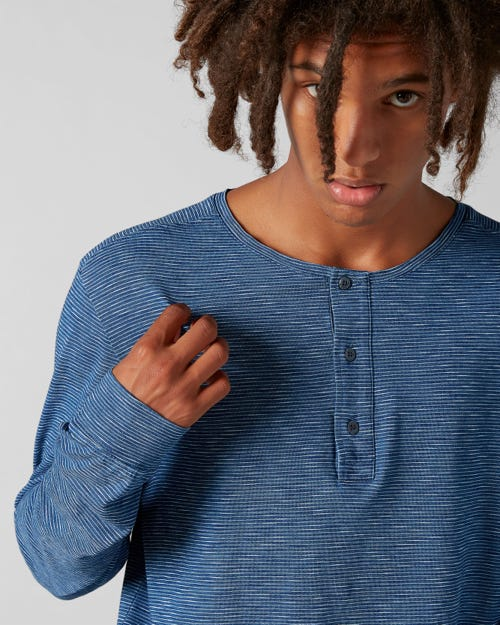 7 For All Mankind - Henley Tee Cotton Stripes Indigo