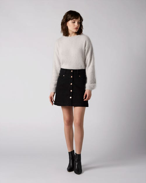 7 For All Mankind - Mini Skirt Noir With Exposed Buttons