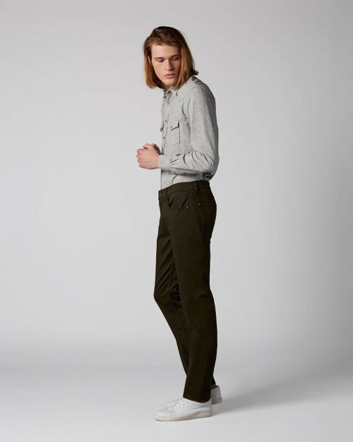 7 For All Mankind - Slimmy Luxe Performance Sateen Forest Night Dark Army