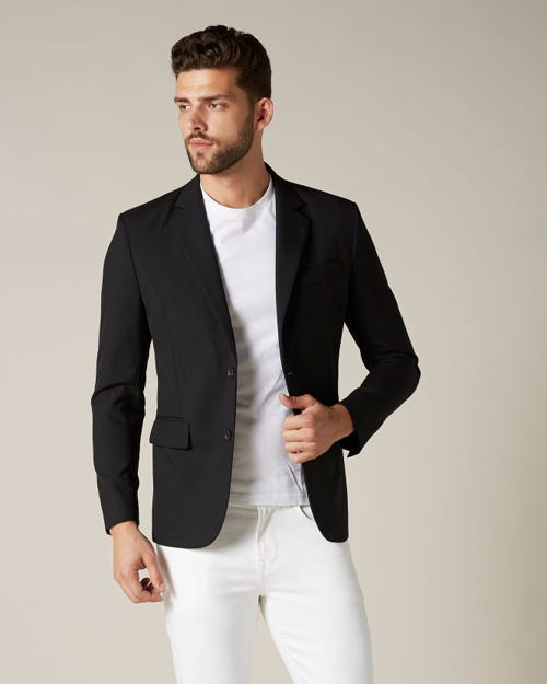 SINGLE BREASTED NOTCH LAPEL SUIT JACKET BLACK