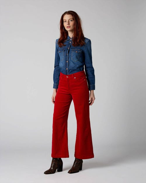 7 For All Mankind - Lotta Cropped Corduroy Red