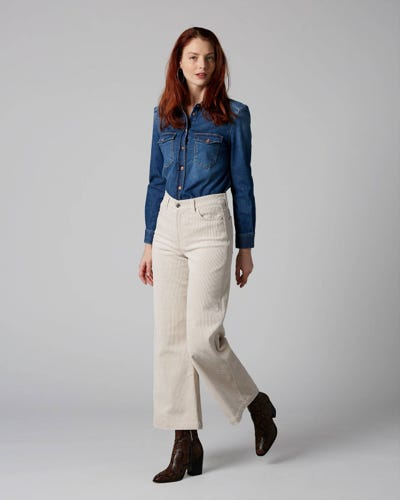 7 For All Mankind - Lotta Cropped Corduroy Champagne
