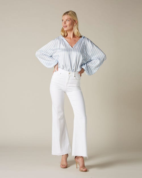 HIGH WAIST FLARE CROP UNROLLED PURE WHITE
