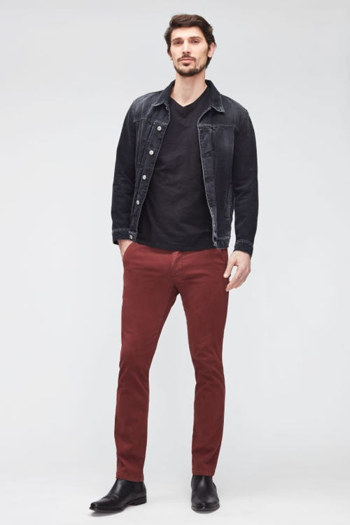 SLIMMY CHINO TAP. LUXE PERFORMANCE SATEEN   BURGUNDY