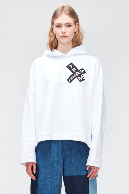 HOODIE COTTON  WHITE - reM'Ade X 7FAM