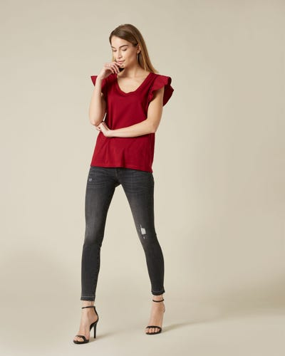 THE SKINNY CROP UNROLLED SLIM ILLUSION EPIC DISTRESSED