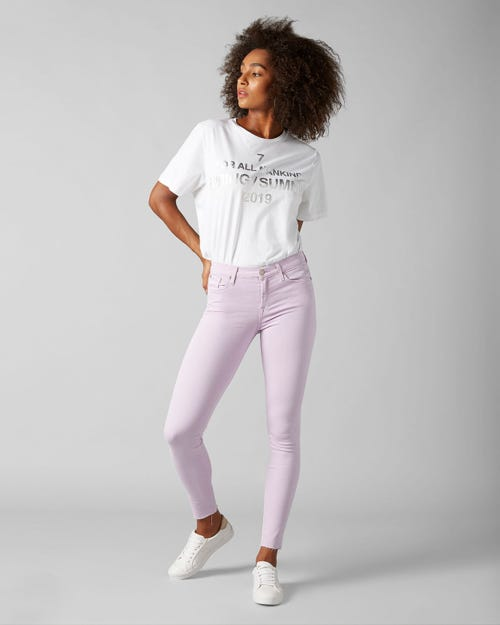 7 For All Mankind - The Skinny Crop Colored Slim Illusion Wisteria With Raw Cut And Back Unrolled Hem