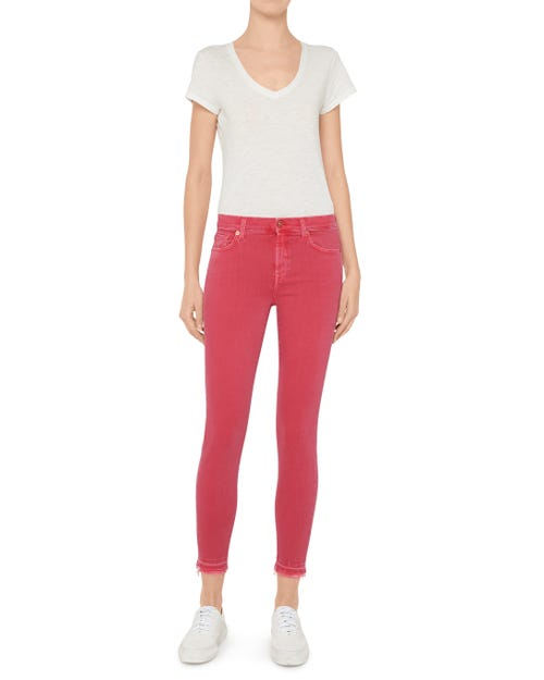 7 For All Mankind - The Skinny Crop Slim Illusion Color Desert Rose