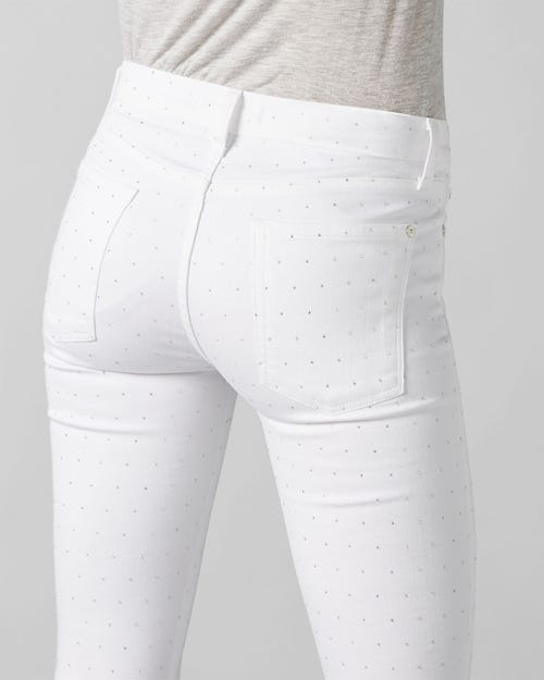 7 For All Mankind - The Skinny Crop Slim Illusion Pure White With Allover Crystals