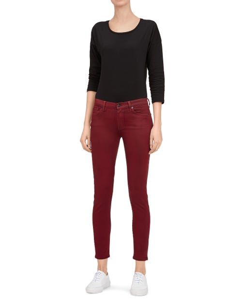 THE SKINNY CROP COATED SATEEN RUBY