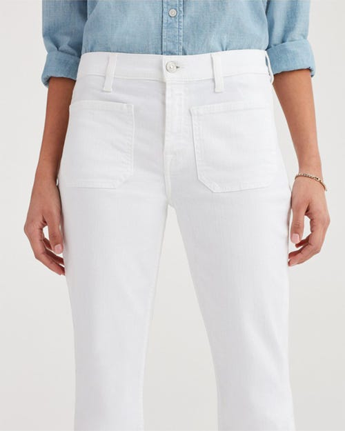 7 for all Mankind - HIGH WAIST SLIM KICK WHITE RUNWAY FRONT POCKETS