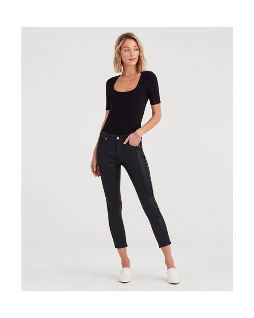 HIGH WAIST ANKLE SKINNY BAIR BLACK COATED WITH VELVET ZIPPER