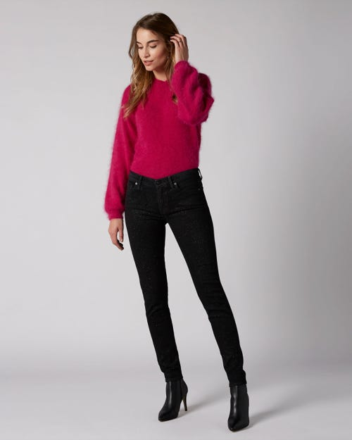 7 For All Mankind - The Skinny Slim Illusion Fame With All Over Glitter