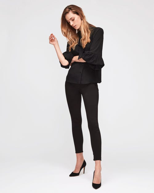7 For All Mankind - High Waist Skinny Crop Sateen Black