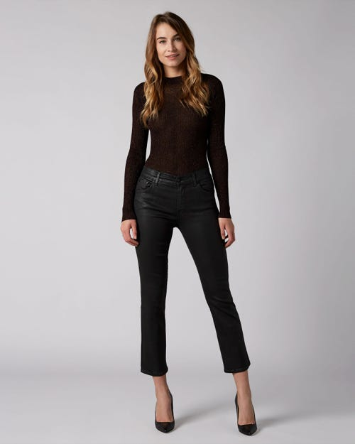 7 For All Mankind - Cropped Boot Coated Slim Illusion Black